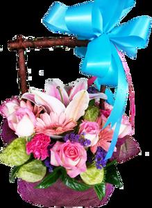 กระเช้าดอกไม้โบ สีฟ้า