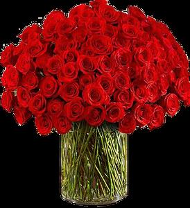 แจกันดอกไม้สดขนาดใหญ่มาก กุหลาบสีแดงสด
