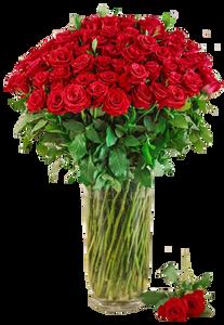 แจกันดอกไม้สดขนาดใหญ่ กุหลาบสีแแดง