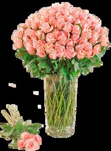 แจกันดอกไม้สด กุหลาบสีชมพู ขนาดใหญ่ 100ดอก