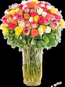 แจกันดอกไม้ขนาดใหญ่โทนสีแดง