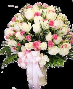 แจกันดอกไม้สด กุหลาบ 70ดอก