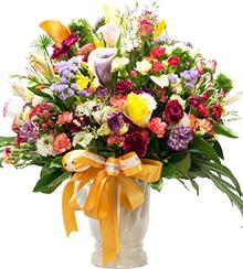 แจกันดอกไม้หลากหลายสีสันขนาดใหญ่