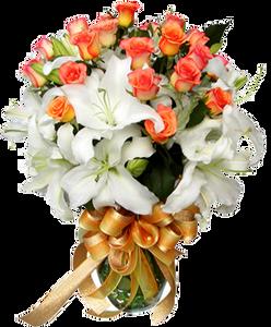 แจกันดอกไม้ ดอกกุหลาบและดอกลิลลี่