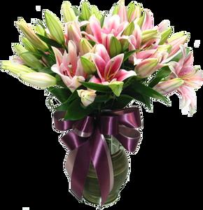 แจักันดอกลิลลี่ สีชมพูและเขียว