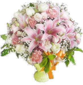 แจกันดอกไม้รวม ดอกลิลลี่และกุลาบ