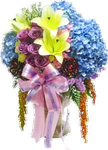 แจกันดอกไม้รวม โทนสีฟ้าม่วง