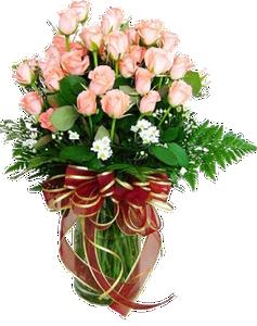แจกันดอกกุหลาบสีชมพู ริบบิ้นสีแดง