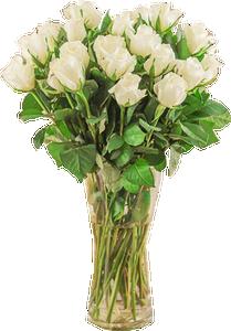 แจกันดอกกุหลาบสีขาว ขนาดใหญ่