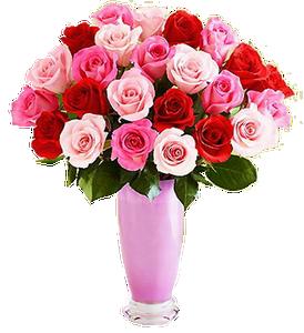แจกันดอกกุหลาบโทนสีแดงชมพู