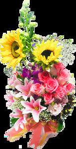 แจกันดอกไม้รวม กุหลาบ ลิลลี่ ทานตะวัน