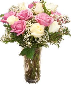 แจกันดอกกุหลาบสีชมพู กับ ขาว