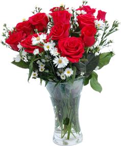 แจกันดอกกุหลาบสีชมพู ผสมดอกไม้สีขาว