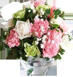 แจกันดอกไม้โทนสี ขาว เขียว ชมพู