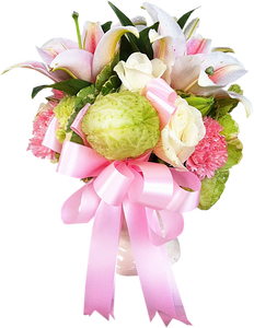 แจกันดอกไม้ ริบบิ้นสีชมพู