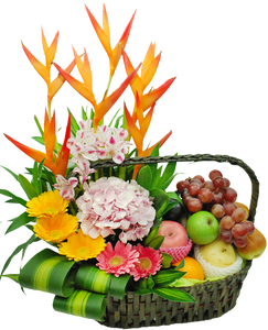 กระเช้าผลไม้ประกอบด้วย ดอกไม้โทนสีส้ม