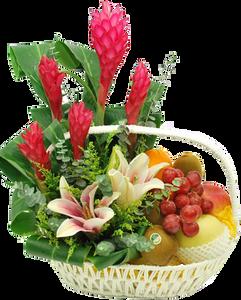 กระเช้าผลไม้ประกอบด้วย ดอกไม้โทนสีแดงเขียว