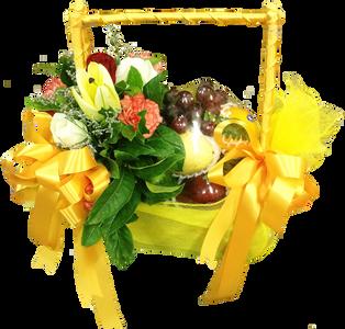 กระเช้าผลไม้สีเหลือง