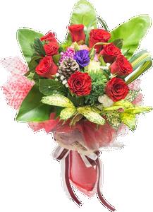 ช่อดอกไม้ประกอบด้วยดอกกุหลาบและใบไม้