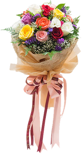 ดอกกุหลาบหลากหลายสีสันในช่อ