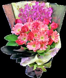 ช่อดอกไม้สีสดใส โทนสีชมพูม่วง