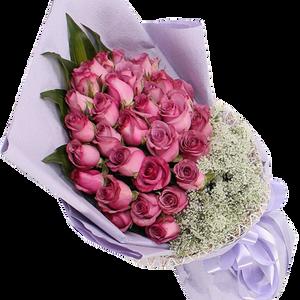 ช่อดอกไม้ ใช้ดอกกุหลาบสีชมพู 30ดอก