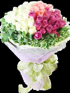 ช่อรวมดอกกุหลาบ สีขาว ชมพู ส้ม