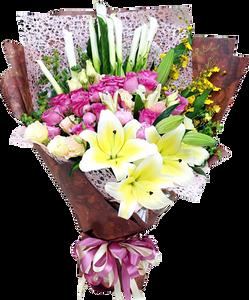 ช่อดอกไม้รวม ขนาดใหญ่โทนสีเหลืองชมพู