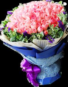 ดอกกุหลาบโทนสีชมพูอมขาว ช่อใหญ่