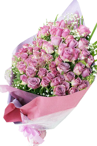 ดอกกุหลาบโทนสีม่วงอมชมพู ช่อใหญ่