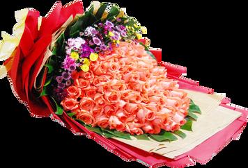 ดอกกุหลาบช่อใหญ่มาก สีส้ม 100ดอก
