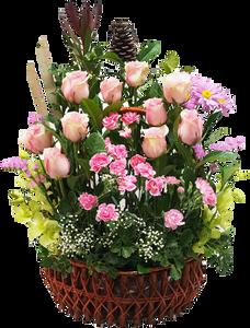 กระเช้าดอกไม้วาเลนไทน์ มีทั้งกุหลาบ คาร์เนชั่น และเยอบีร่า