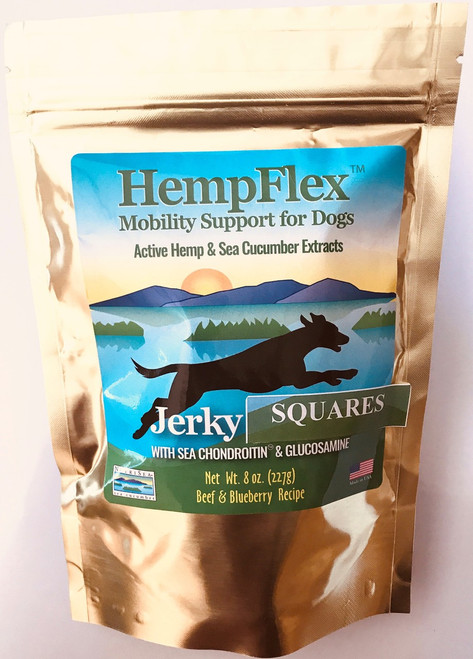 HempFlex Jerky supports older dogs that are starting to slow down from their usual activities. HempFlex Jerky Treats provide nutritional and supplemental support for mobility issues, anxiety and skin & coat problems.  HempFlex Net Wt. 8oz bag Give one square for every 40lbs of dogs weight. Square can be given at any time.