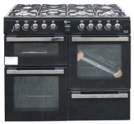 Flavel MLN10FR Dual Fuel Range Cooker 100cm Black Gas Hob Electric Oven