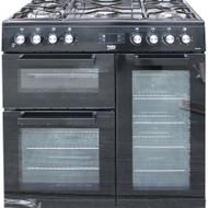 Beko Freestanding 90cm double oven range cooker KDVF90K Black