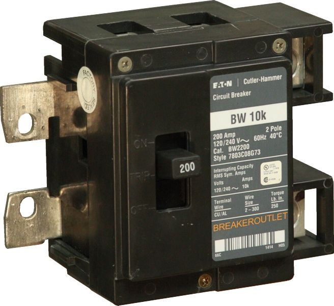 Cutler Hammer BW2200 Main Circuit Breaker BW 10K 200 Amp 2-Pole 120//240VAC