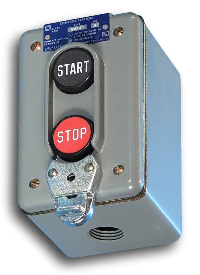 SQUARE D 9001BW241 Push Button Control Station,1NO//1NC,30mm