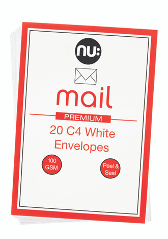 Nu: Mail C4 White Envelopes - Pack of 20