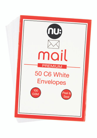 Nu: Mail C6 White Envelopes - Pack of 50