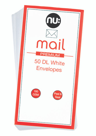 Nu: Mail DL White Envelopes - Pack of 50