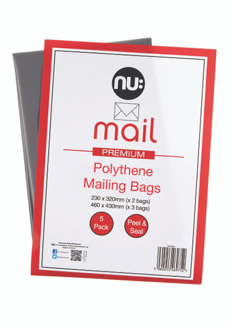 Nu: Mail Polythene Mailing Bags - Pack of 5