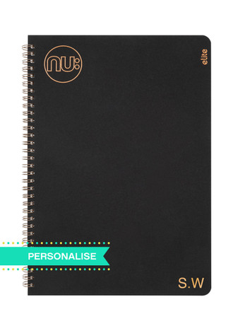 Nu:  Kraft Black Wiro Notebook (Personalise)