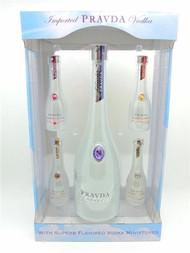 Pravda Vodka 750 ML Miniature Gift Set with 4 x 50 ML and Gift Box
