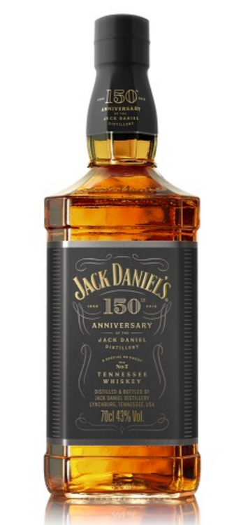 JACK DANIELS 150TH ANNIVERSARY 86 PROOF WHISKEYA special edition of the iconic Jack Daniels Old No 7 whiskey bottled at 86 proof to commemorate the 150th anniversary of the opening of the original Jack Daniels Distillery.750ml bottle