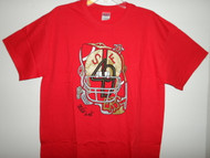 """Hand drawn design, 49ers on an adult Gildan heavy cotton t-shirt. Preshrunk 100% cotton jersey knit, seamless double needle 7/8"""" collar, taperd neck and shoulders, double needle sleeve and bottom hem."""