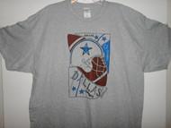 Hand drawn design on Gildan grey adult t-shirt.