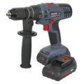 Cordless Hammer Drill/Driver Ø13mm 18V Lithium-ion Super Torque 1hr Charge - 2 Batteries
