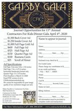 2020 Gatsby Dinner Gala - Half Page Ad