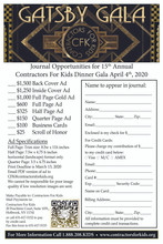 2020 Gatsby Dinner Gala - Quarter Page Ad