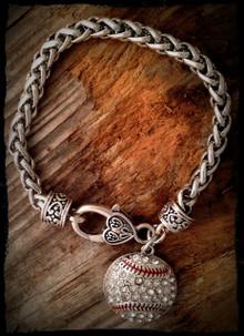 Rhinestone Baseball Charm Bracelet